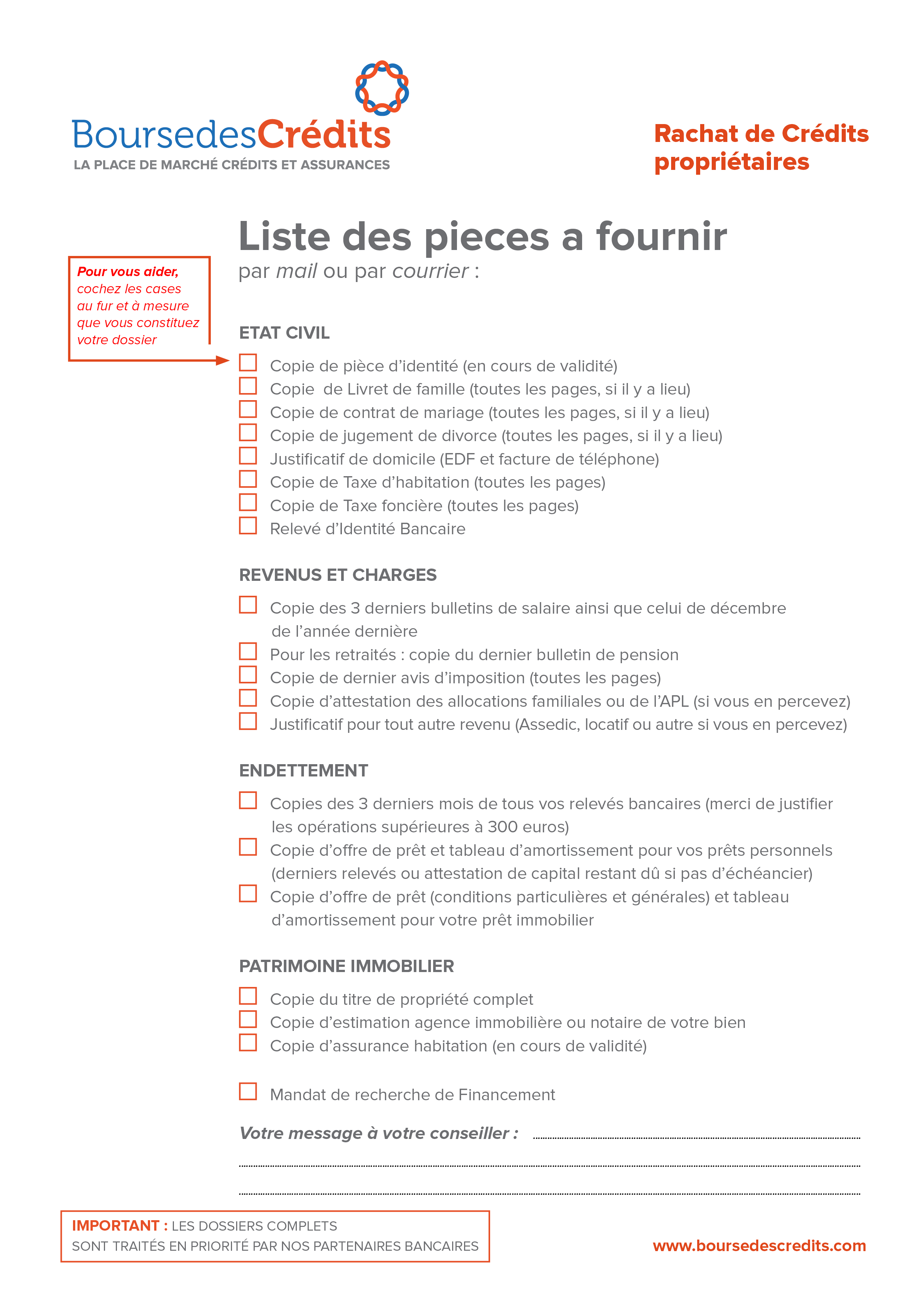 Constitution dossier rachat de credit boursedescredits - Documents pret immobilier ...